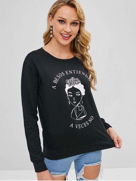 Sweat-shirt Figure Graphique - Noir M