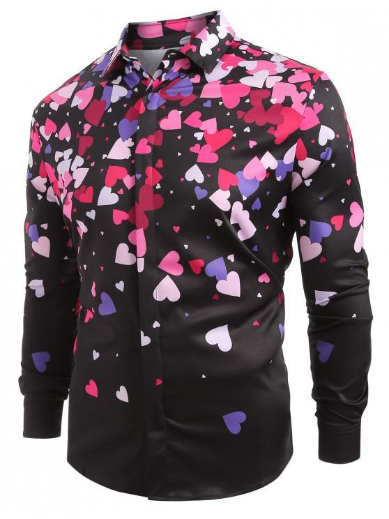 Camicia Stampata A Cuore Con Maniche Lunghe - Nero XL