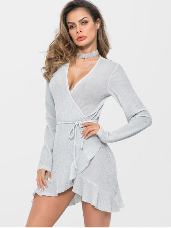 shops Ruffle Hem Sparkly Wrap Dress - LIGHT GRAY S