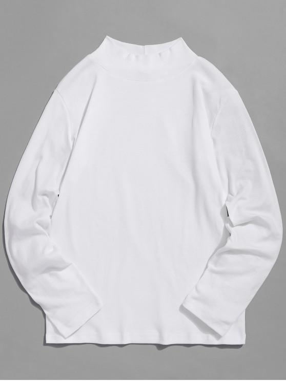 chic Turtleneck Solid Basic T-shirt - WHITE XL