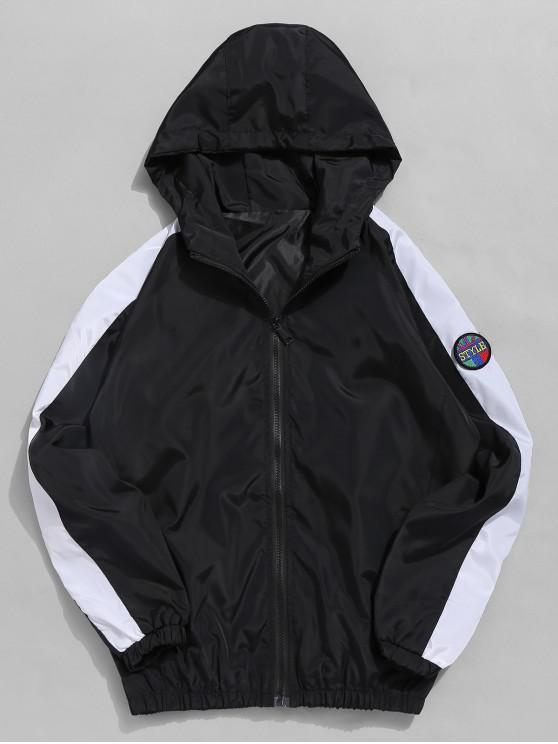 fancy Applique Contrast Windbreaker Jacket - BLACK XL