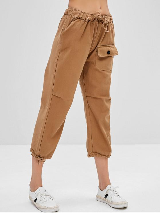 shops Drawstring Flap Pocket Straight Pants - CAMEL BROWN ONE SIZE