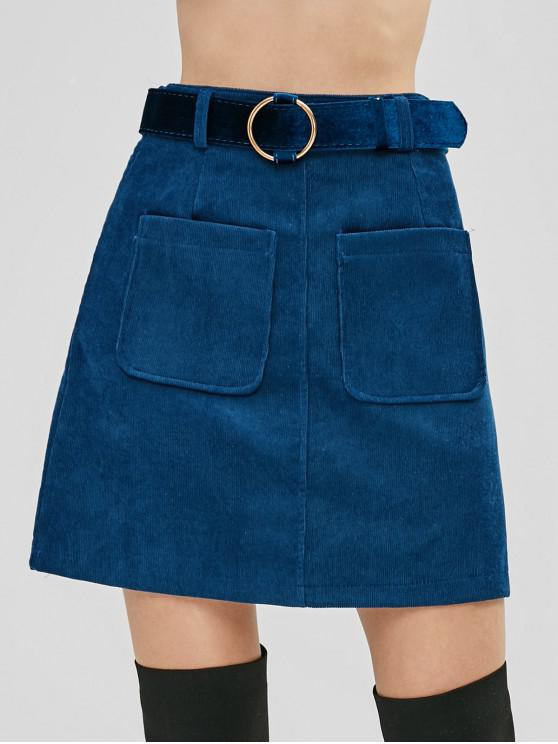 hot Belted Patch Pockets Corduroy Mini Skirt - BLUE L