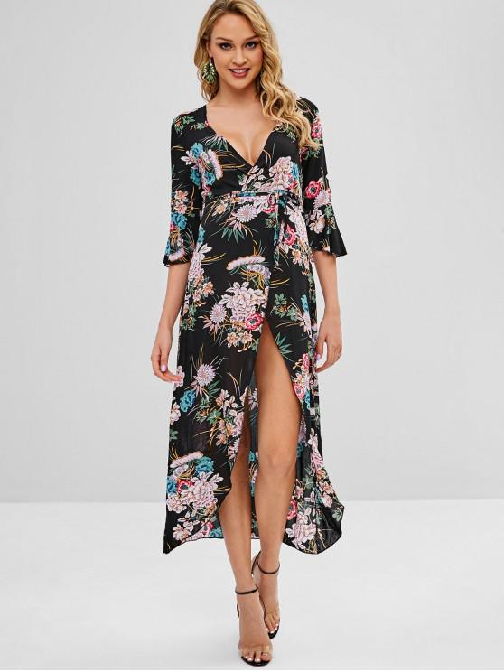 fashion Slit Floral Surplice Dress - BLACK M