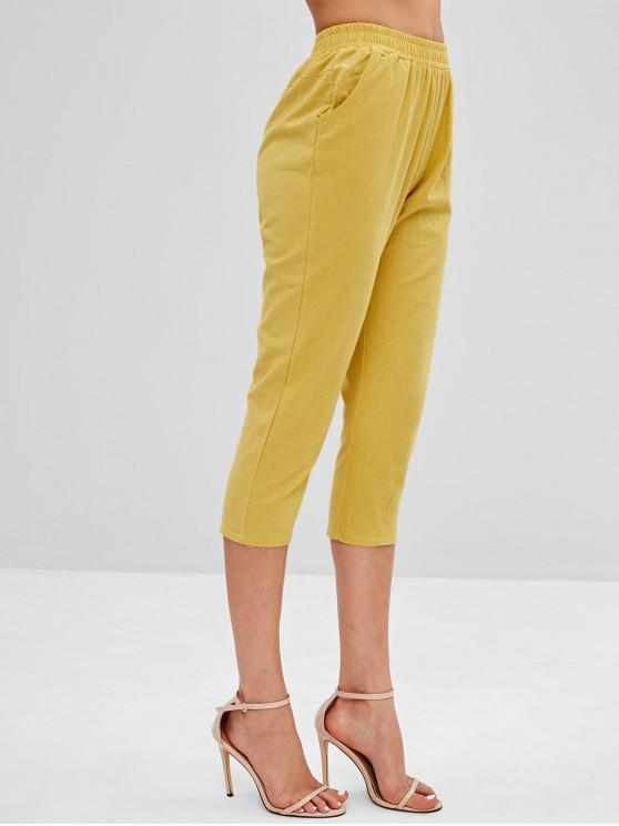 womens Mid Waist Plain Capri Pants - YELLOW XL