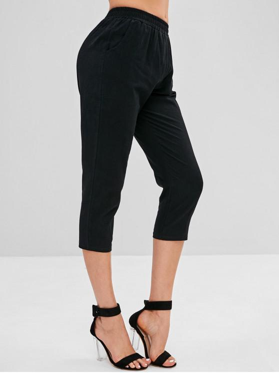women's Mid Waist Plain Capri Pants - BLACK 2XL