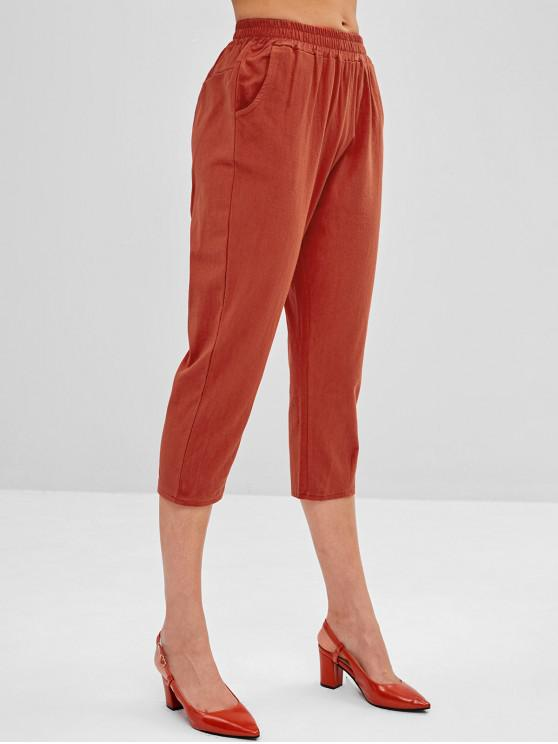 best Mid Waist Plain Capri Pants - CHESTNUT RED L