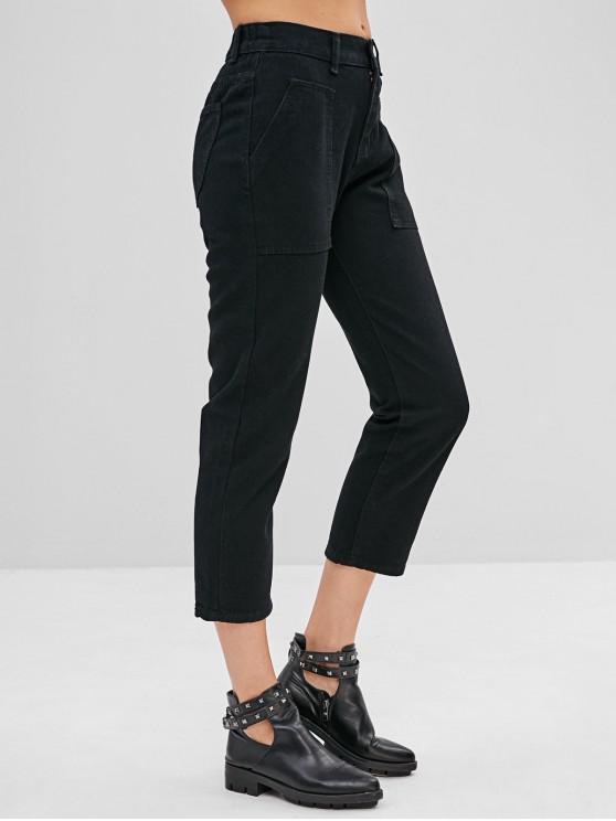 sale Pockets Plain Straight Jeans - BLACK L