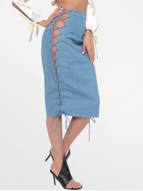 online High Waist Lace Up Denim Skirt - DENIM BLUE M