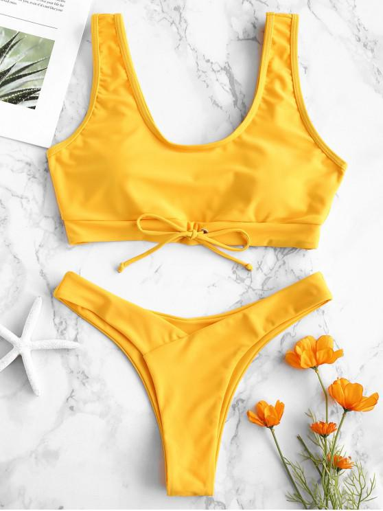chic ZAFUL Bowknot High Leg Bikini Set - BRIGHT YELLOW M