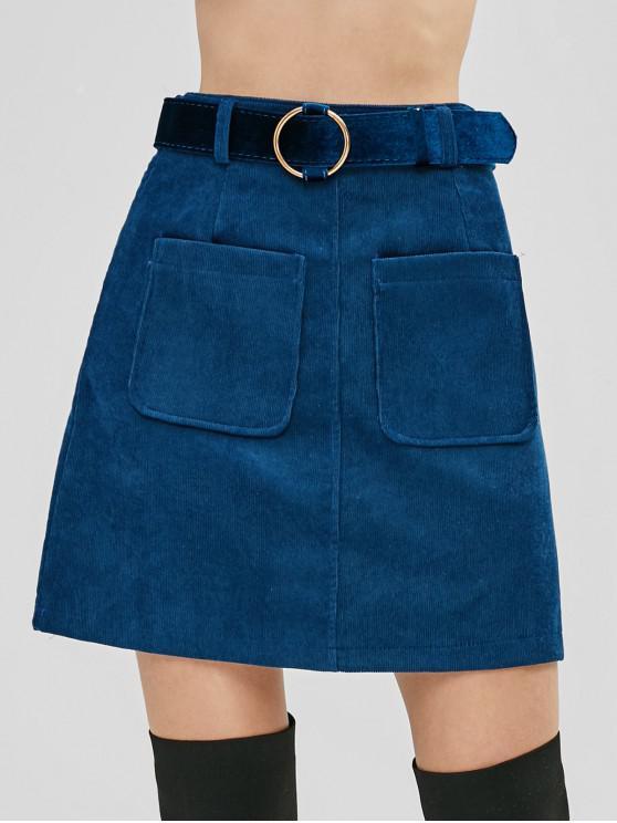 trendy Belted Patch Pockets Corduroy Mini Skirt - BLUE XL