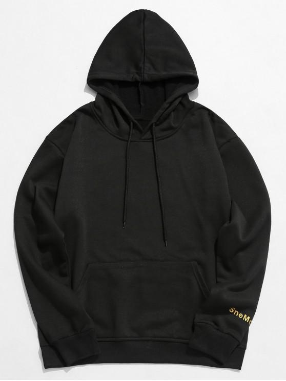 Hoodie mit Buchstabe Grafik und Taschen - Schwarz M