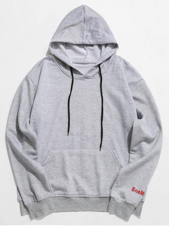Buchstabe Graphic Pocket Hoodie - Grau 3XL