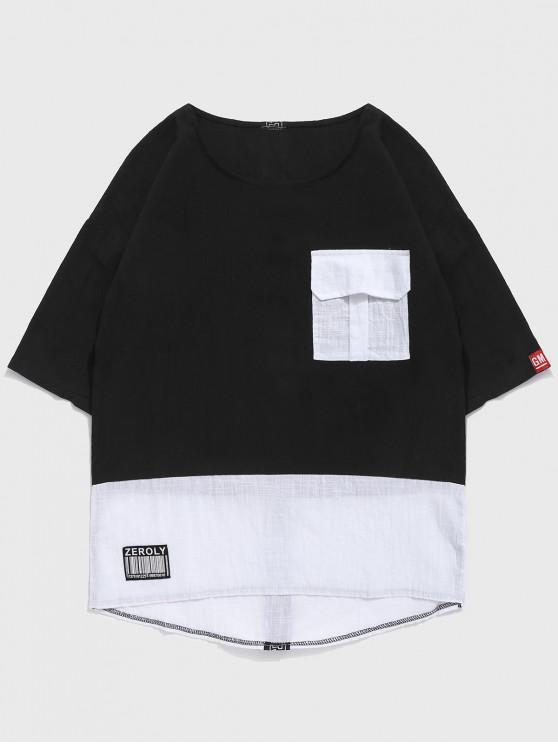 best Color Block Ribbon Patchwork T-shirt - BLACK XL