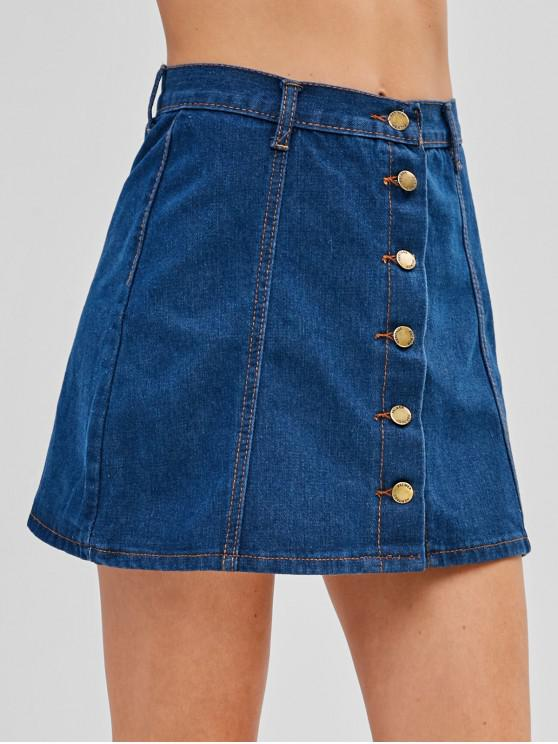 buy Button Up Denim Flare Skirt - DENIM DARK BLUE S