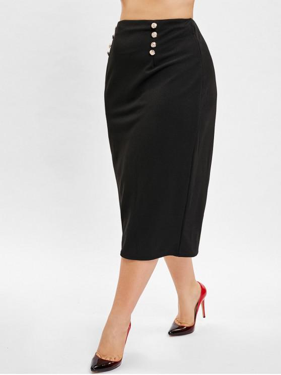 fancy Belted Buttoned Plus Size Skirt - BLACK 2X