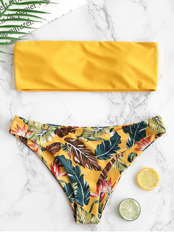 lady ZAFUL Leaf Bandeau Bikini Set - BRIGHT YELLOW M