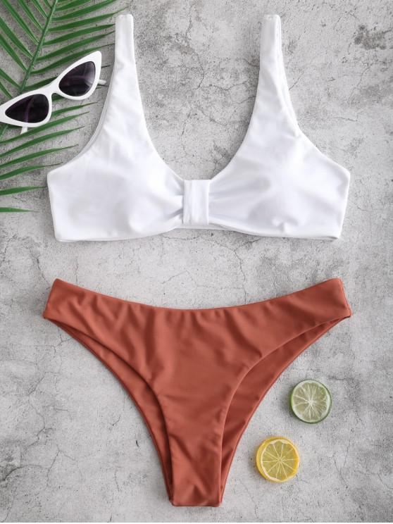 fancy ZAFUL Knotted Color Block Bikini Set - CHESTNUT RED M