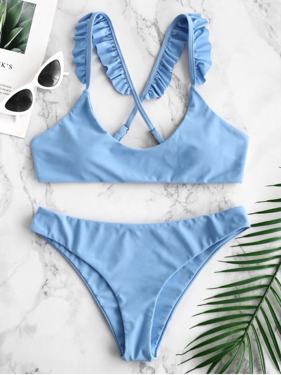womens ZAFUL Criss Cross Ruffle Bikini Set - LIGHT SKY BLUE S