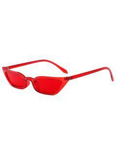 Stylish Narrow Lens Sunglasses - Red