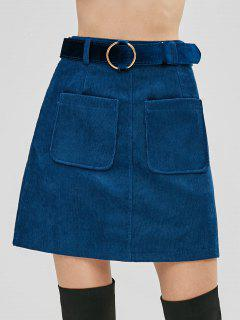 Belted Patch Pockets Corduroy Mini Skirt - Blue M