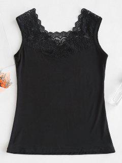 Camiseta Sin Mangas Con Panel De Encaje - Negro