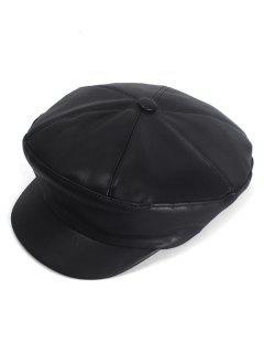 Solid Color Design PU Newsboy Cap - Black