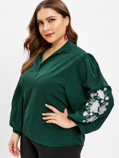 V Neck Floral Embroidered Plus Size Blouse - Medium Forest Green 3x
