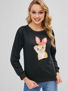 Cartoon Graphic Pullover Sweatshirt - Black L