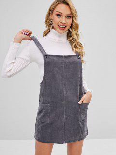 Pockets Corduroy Overall Dress - Gray
