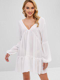 Ruffles V Neck Plain Dress - White S
