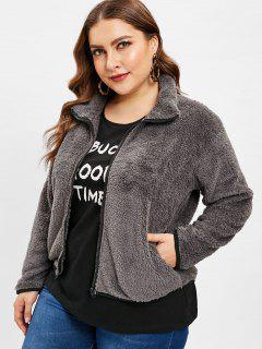 Fluffy Zip Up Teddy Plus Size Coat - Gray 2x