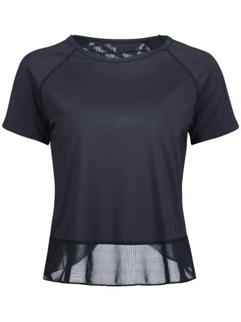 Tulpe-Rücken-T-Shirt mit Mesh-Einsatz - Schwarz L Mobile