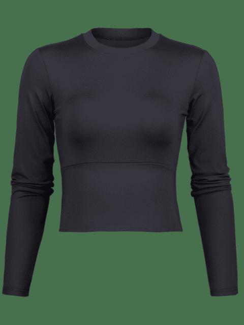 T-shirt Maigre de Sport de Gymnastique de Yoga - Noir L Mobile