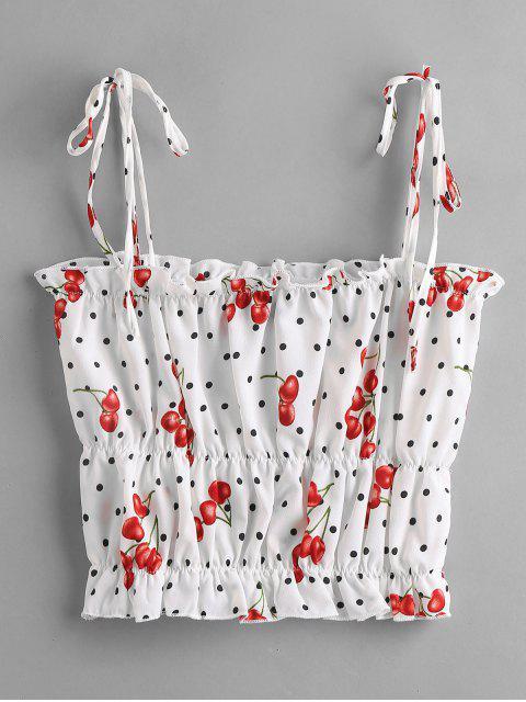 hot ZAFUL Ruffles Cherry Print Dotted Cami Top - WHITE L Mobile