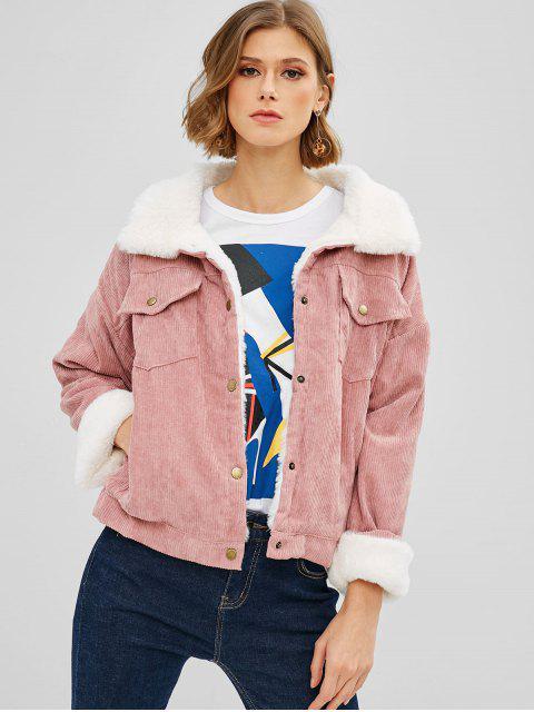 women's Corduroy Faux Fur Lined Winter Jacket - PINK ONE SIZE Mobile