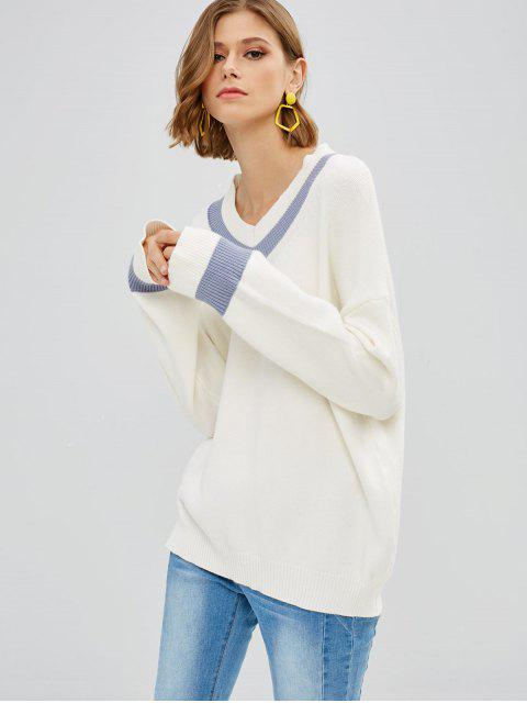Pull Surdimensionné à Ourlet Contrasté à Col V - Blanc Taille Unique Mobile