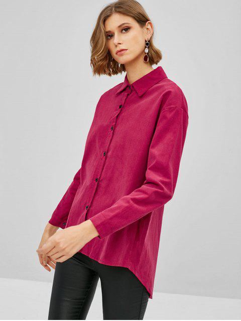 best Corduroy Tunic Shirt - ROSE RED M Mobile