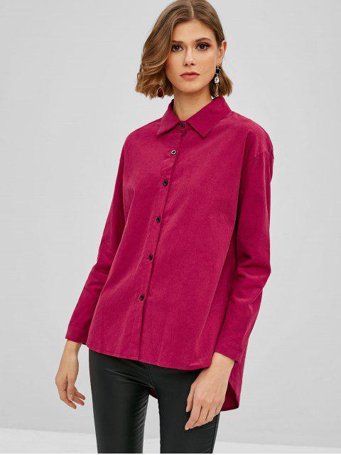 women Corduroy Tunic Shirt - ROSE RED L Mobile