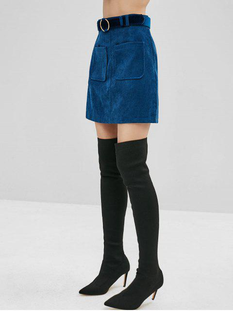 womens Belted Patch Pockets Corduroy Mini Skirt - BLUE M Mobile