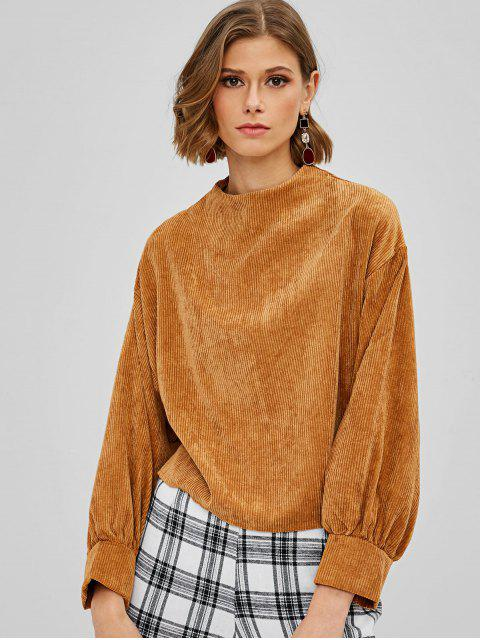 unique Balloon Sleeve Corduroy Pullover Sweatshirt - LIGHT BROWN ONE SIZE Mobile