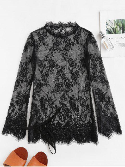 womens Sheer Lace Babydoll Set - BLACK ONE SIZE Mobile
