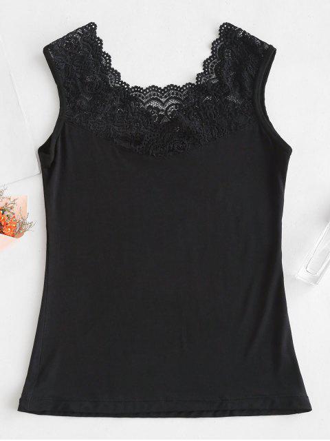 Camiseta sin mangas con panel de encaje - Negro Talla única Mobile
