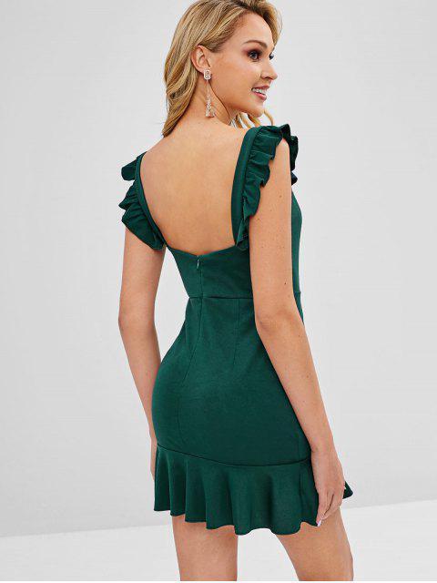 sale Ruffled Mini Party Dress - DEEP GREEN S Mobile