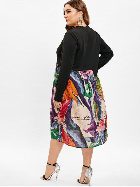 womens A Line Printed Plus Size Dress - MULTI 2X Mobile
