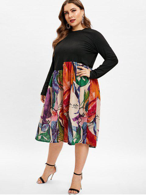 women A Line Printed Plus Size Dress - MULTI 1X Mobile