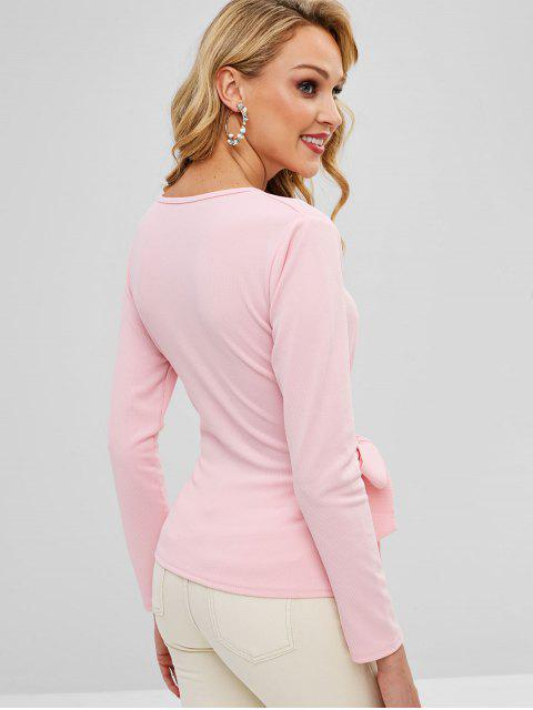 fashion Crossover Long Sleeve Knotted Top - PINK XL Mobile