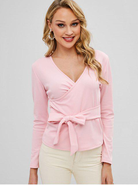 lady Crossover Long Sleeve Knotted Top - PINK S Mobile