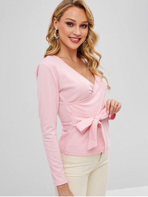 Crossover Langarm Knoten Top - Pink M Mobile