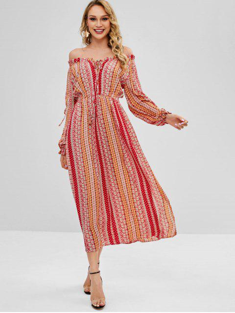 Vestido largo con hombros descubiertos y aberturas - Multicolor S Mobile
